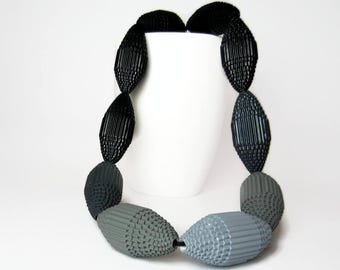 Ombré Necklace with HUGE beads:  Shades of Gray - Statement Necklace