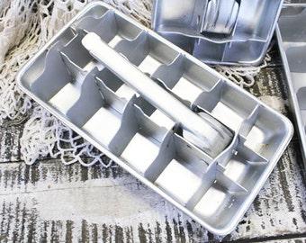 Vintage Ice Tray, Aluminum Ice Cube Tray