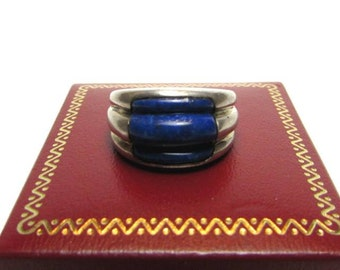 Vintage Sterling Silver Ribbed Denim Lapis Wide Dome Ring - Sterling Lapis Southwestern Style Ladies Ring