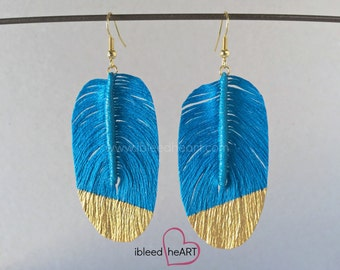 Gold Dipped Bright Blue Fake Feather Earrings - Bird Feather - Feather Jewelry - Handmade Earrings - Bohemian Wedding