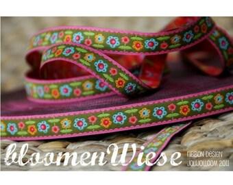 Jacquard Ribbon, Flower Ribbon,  Farbenmix woven khaki flower webband,  Sewing Tape, 1 metre
