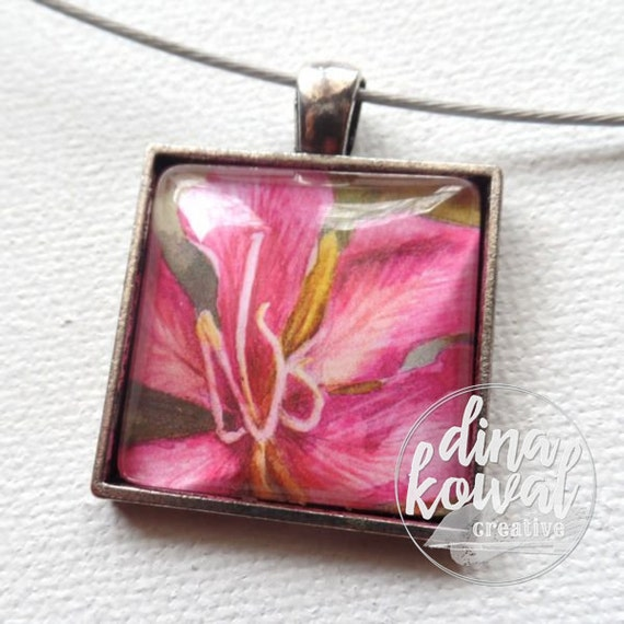 Tree orchid - tropical - domed glass tile pendant necklace