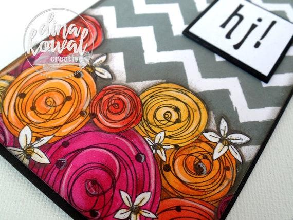 handmade greeting cards - hi - floral - chevron