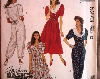 Vintage 1990s Misses Dress and Jumpsuit with Notched Collar in Contrast Variations Size 12 McCalls Pattern 5273 UNCUT