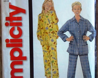 Easy to Sew Childs and Teens Two-Piece Pajamas Sizes XS S M L It's So Easy Simplicity Pattern 5764 UNCUT