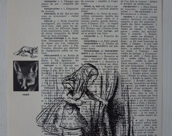 Alice in Wonderland - Alice print on vintage dictionnary page