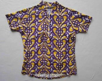 Women's bike jersey Cycling top Bold Print in purple and Yellow  - Medium