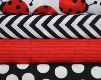 Urban Zoologie Red Ladybugs 4 Fat Quarter Bundle for Robert Kaufman, 1 yard total