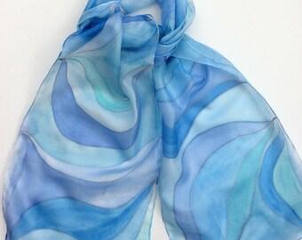 Blue Swirls hand painted silk scarf.  Silk scarves.