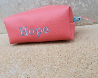 Pink Vinyl Embroidered Cosmetics Case, Pink Vegan Leather Makeup Bag, COS74733