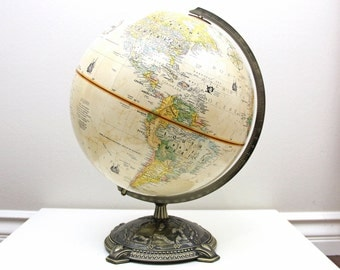 Vintage Globemaster 12 Inch Diameter Globe with Antique Brass Metal Base by Replogle,Inc , Desk Globe, Wedding Table Decor, Item No 1583