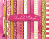 Pink Digital Paper, Pink and gold scrapbook paper, Commercial use digital paper, Pink background paper, Watercolor digital paper, MK