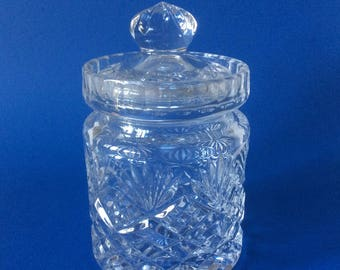 1950's ENGLISH Cut Glass Crystal Marmalade Jam Pot with Lid. Excellent.