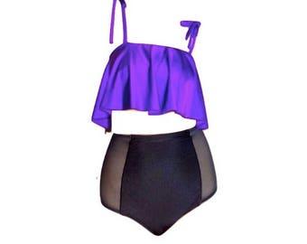 Ruffle Bikini Top with Mesh Panel High Waist Bikini Bottom