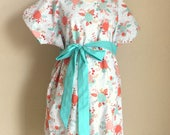 McKenleigh Maternity Hospital Gown - Mint and Coral Roses on White - Perfect Delivery Gown to Welcome Baby - by Mommy Moxie on Etsy