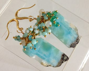 RESERVED: Ashira Matching Slices Blue Nugget Larimar Gemstone Earring, Cluster of Larimar, Moonstone, Amazonite, Green Onyx Wire Wrapped