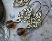 RESERVED For Nikki    Brass Filigree Earrings