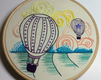 Embroidery kit, Stitch sampler, DIY kit, doodle, hand stitching, home deco, hoop art - hot air balloons