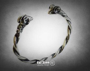 ezi zino ram horn goat aries sterling silver 925 cuff bangle bracelet