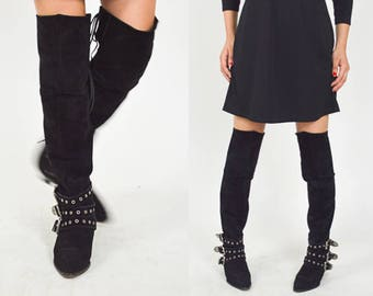 BLACK LEATHER SUEDE Buckle Boots. Silver Chunky Buckle Anklets. Thigh High Lace Up Back.  Vintage 80's 90's Boots Size - 7