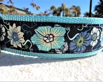 "Large dog collar 1.5"" Side Release buckle or Martingale collar Morning Glory Blue - see all colors & widths within"