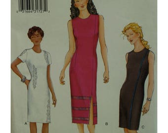 Fitted Dress Pattern, Straight, Side Slit, Side Seam, Sleeveless/Short Sleeves, Jewel Neck, Lined, Vogue No. 7284 UNCUT Size 14 16 18