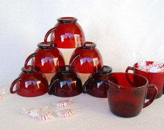 Vintage Anchor Hocking Royal Ruby Punch Cups PLUS Creamer and Sugar Ruby Red Tea Cups Snack Cups Creamer Sugar circa 1938-1967 and 1973-1977