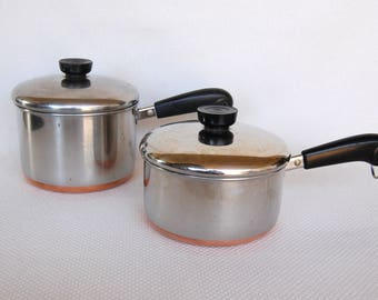 Choice of 2 Vintage 1801 Revere Ware Copper Clad Stainless Steel Small Saucepans with Covers 1.5 Qt ca 1987 and 2 Qt ca 1979 Clinton, Ill