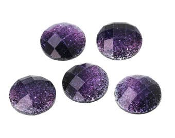 10 Resin Purple and Black Glitter Dome 8mm