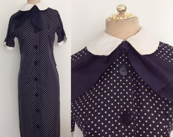 1950's Silk Navy Blue Polka Dot Wiggle Dress w/ Double Collar & Bow