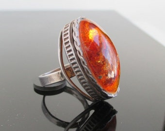 Amber & Silver Ring - Vintage, Long and Beautiful - Size 6