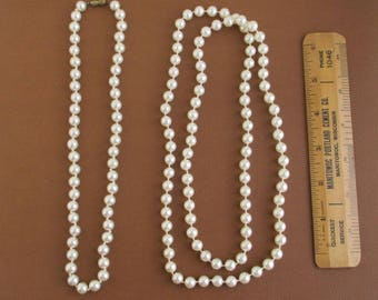 "2 Vintage Faux Pearl Necklaces - 18"" w/ Clasp & 35"" Continuous Strand"