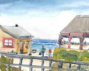 Original Painting, Watercolor and Ink, Landscape, California Painting, Ocean, Cottage, Crystal Cove