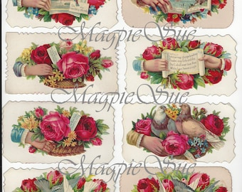 Victorian Calling Cards Digital Download 8 Different Romantic Images Valentines Day Scrapbooking Crafts