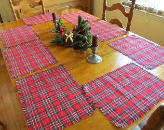 Royal Stewart Red table place mats wool blend hand crafted 9 mats DISCOUNTED 10%