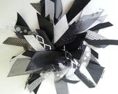 Reserved Listing for Victoria -  Set of 2 Ribbon Ponytail Streamers - Black/Silver, & White/Silver
