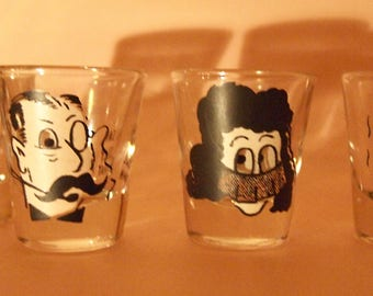 Set of  4 1960's SHOT GLASSES Googly EYES Cocktail Bar Vintage Rock A Billy