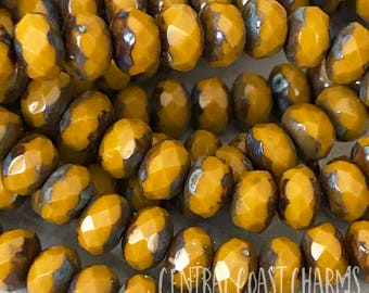 Butternut - 5mm x 3mm Czech Faceted Picasso Bead Spacer Rondelle Donut (30) Orange Mustard Yellow - Bohemian Glass - Central Coast Charms