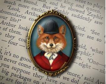 Fox Hunt Pin, Fox Brooch, Fox Hunt Brooch,  Fox Portrait Pin, Equestrian Brooch, Horseback Riding, Dressage, Fox Hunting, Fox Lover Gift,