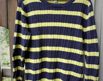 Izod Size Large Sweater/Retro Izod Pullover/ Thrifted Navy and Yellow Cotton Sweater/Vintage Izod Sweater/ Shabbyfab Thrift
