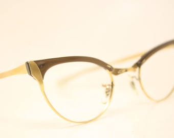 Unused Brown 1/10 12k Gold filled cat eye glasses vintage 1950s eyewear cateye frames New Old Stock