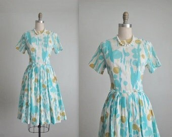 STOREWIDE SALE 60's Day Dress // Vintage 1960's Abstract Print Summer Full Pleated Garden Party Dress S