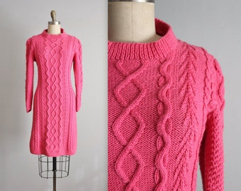70's Sweater Dress // Vintage 1970's Pink Cable Knit Sweater Dress M