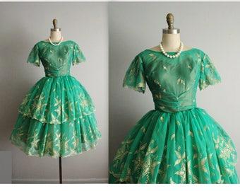 50's Chiffon Dress // Vintage 1950's Emerald Green Flocked Chiffon Prom Wedding Dress S