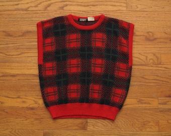 womens vintage plaid sweater vest