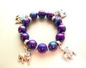 Navy Blue Rainbow Reflection Pug Dog Charm Bracelets