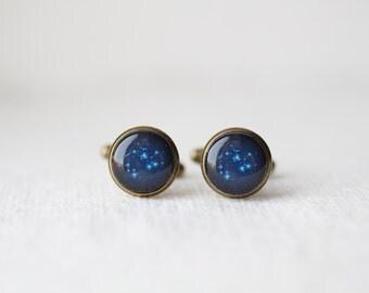 Zodiac Cufflinks - Custom Astronomy Sign - Star Constellation - Personalized Wedding Gifts