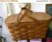 Spring Clearance SaLe Vintage Wov n Wood Picnic Basket Nordic Fench decor Cottage Chic