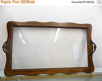 Antique Victorian Glass Tray with wood Frame and Handles - Cottage Chic