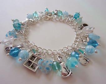 Cat Charm Bracelet, Kitty's Purrfect Day, Glow in the Dark, Quartz, Fluorite